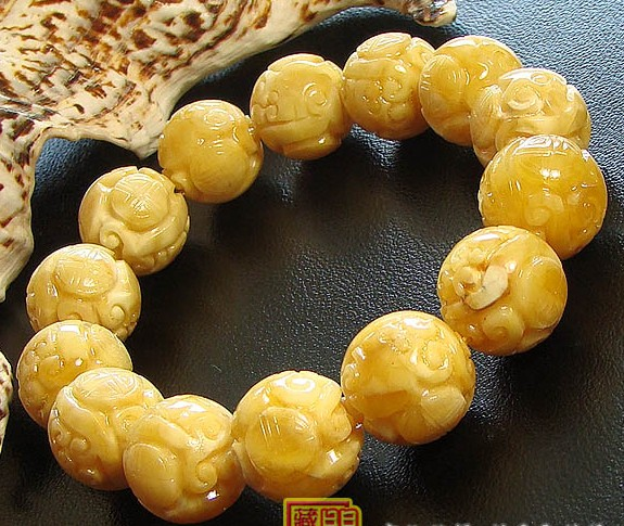 Consecration 15MM Tibetan Mila Dragon Bracelet Buddhist Prayer Beads Bracelet
