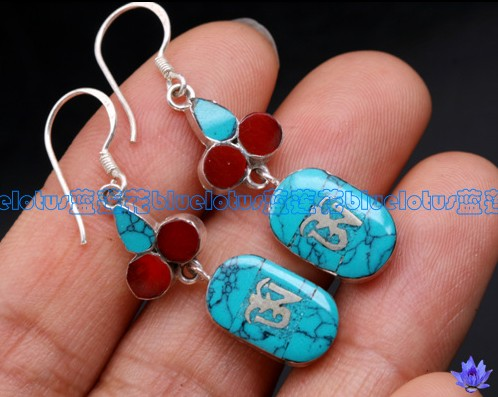 Handmade Ancient Symbol Earrings Stirling OM Earrings