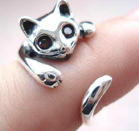Handmade Sterling Silver Ring- Cat