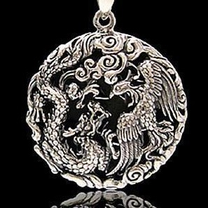 Handmade 925 Sterling Siver Pendant - Dragon & Phonix