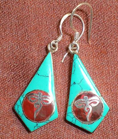 Handmade Tibet Ancient Symbol Earrings