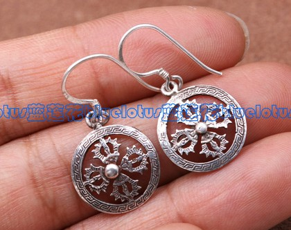 Handmade Tibetan Earrings Coral Sterling Silver Dorje Earrings
