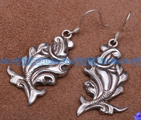 Handmade Tibetan Earrings Sterling Earrings - Double Fish