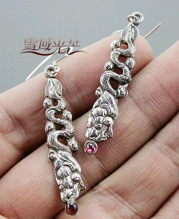 Handmade Tibetan Earrings Sterling Silver Dragon Earrings