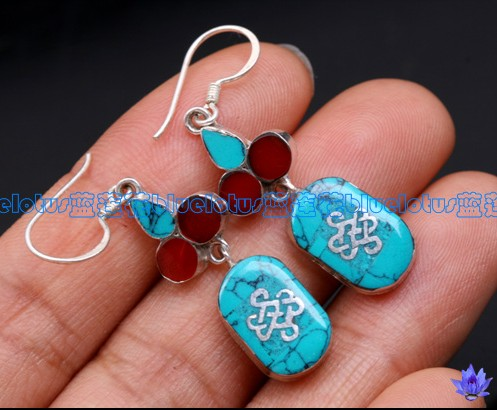 Handmade Tibetan Earrings Sterling Silver Endless Knot Symbols Earrings