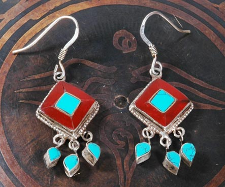Handmade Tibetan Earrings Stirling Silver Earrings