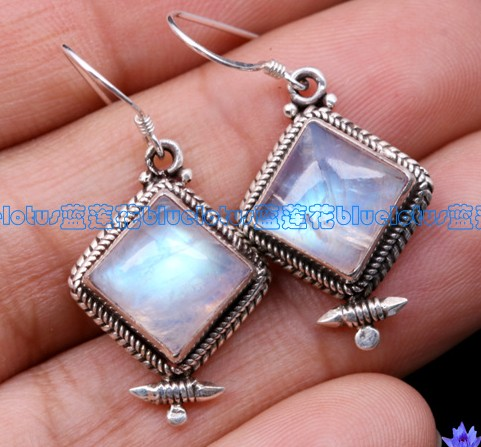 Handmade Tibetan Moonstone Sterling Silver Earrings