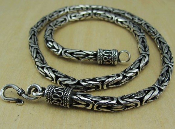Handmade Tibetan Necklace Sterling Silver Longevity Necklace