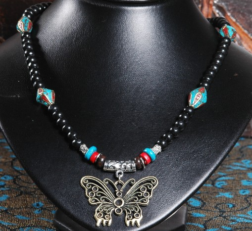 Handmade Tibetan Necklace Tibetan Leather Butterfly Necklace