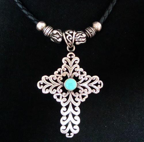 Handmade Tibetan Necklace  Stirling Silver Cross Necklace