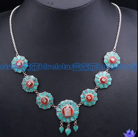 Handmade Tibetan OM Mantra Necklace Tibetan Turquoise Necklace