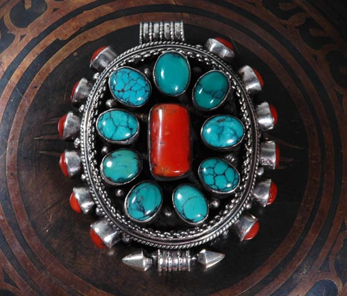 Handmade tibetan prayer box pendant turquoise and coral wishbop handmade tibetan prayer box pendant turquoise and coral aloadofball Gallery