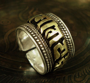 Handmade Tibetan Ring Six-Words Proverb Sterling Silver Ring