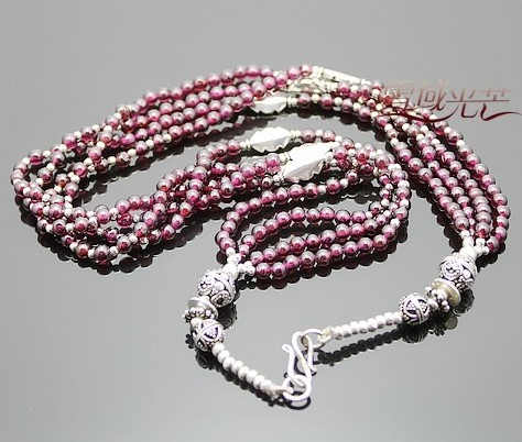 Handmade Tibetan Sterling Silver Garnet Necklace