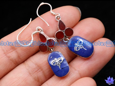Handmade Tibetan Sterling Silver Lapis Lazuli Buddha Eye Earrings