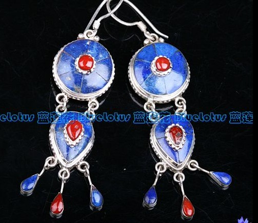 Handmade Tibetan Sterling Silver Lapis Lazuli Earrings