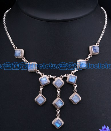 Handmade Tibetan Sterling Silver Moonstone Necklace