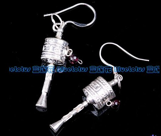 Handmade Tibetan Sterling Silver Prayer Wheel Earrings