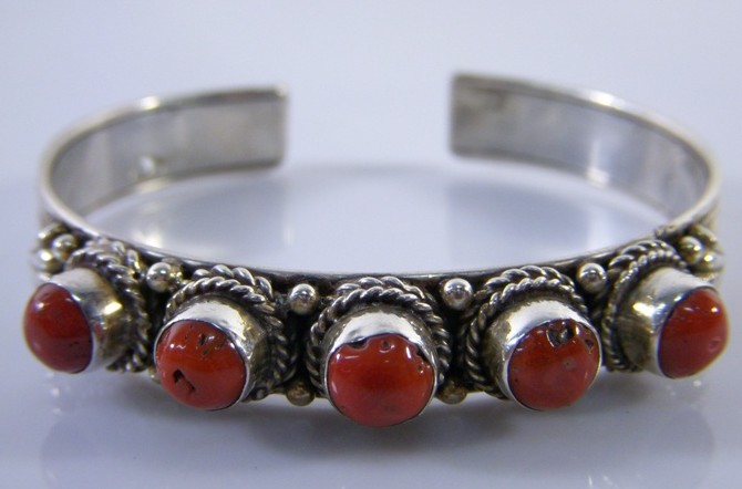 Handmade Tibetan Jewelry Sterling Silver Red Coral Bracelet