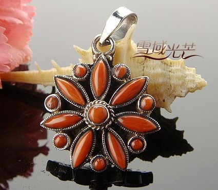 Handmade Tibetan Sterling Silver Red Coral Pendant