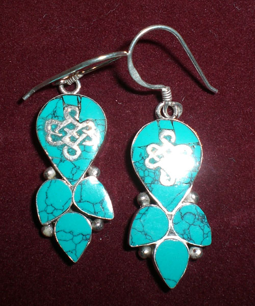 Handmade Tibetan  Ancient Symbol Earrings
