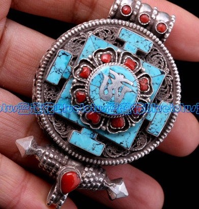 Handmade Turquoise Buddhist Prayer Box Pendant
