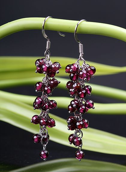Stirling Garnet Earrings Handmade Tibetan Earrings