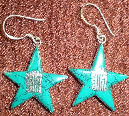 Tibetan Handmade Ancient Symbol Five-pointed Star Earrings