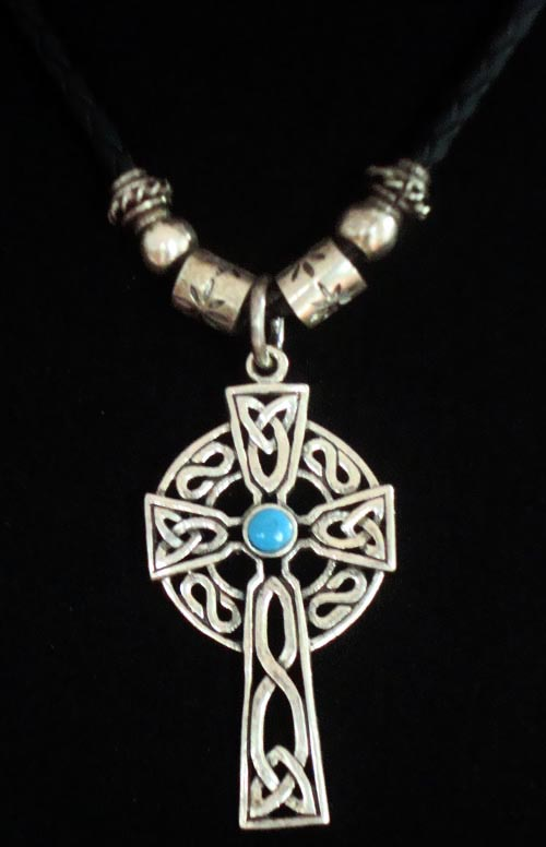 Tibetan Handmade Leather Necklace Stirling Silver Cross Necklace