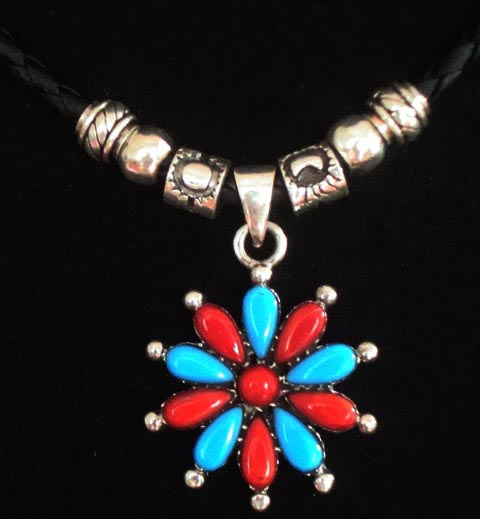Tibetan Handmade Leather Necklace Turquoise Charming Necklace