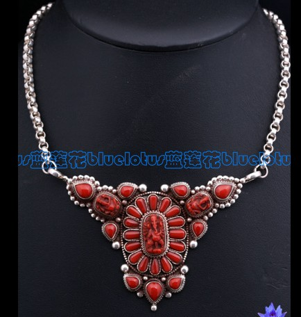 Tibetan Handmade Red Coral Buddha Necklace