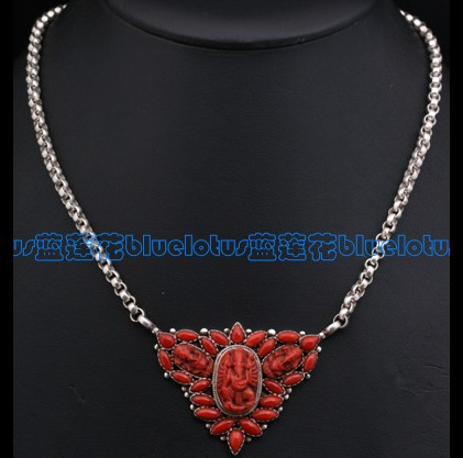 Tibetan Handmade Red Coral Ganesh Buddha Necklace