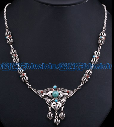 Tibetan Necklace Handmade Tibetan Old Silver Necklace - Dorje
