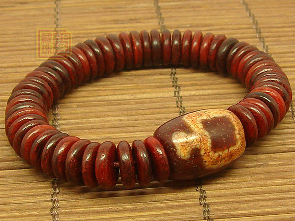 Tibetan dZi Wrist Malas Redsandalwood Buddhist Prayer Beads Bracelet for women