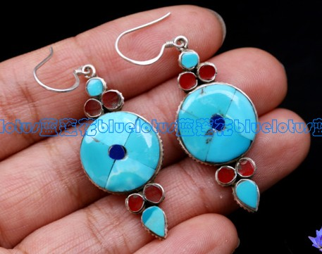 Turquoise Earrings Tibetan Handmade Sterling Earrings