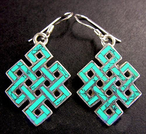 Turquoise Endless Knot Earrings Handmade Tibetan Stirling Silver Earrings