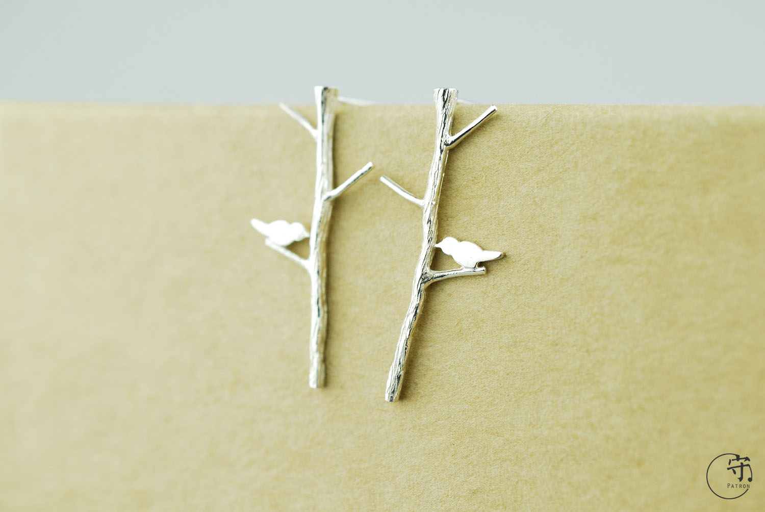 Birds On The Tree Branches 925 Sterling Silver Novelty Handmade Earrings