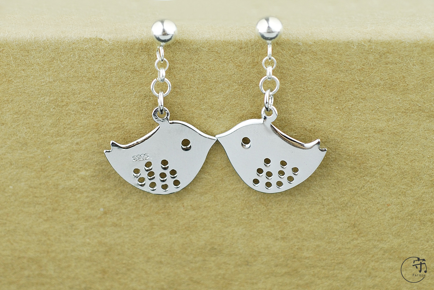 Handmade 925 Sterling Silver Pair of Lovebirds Women Earrings