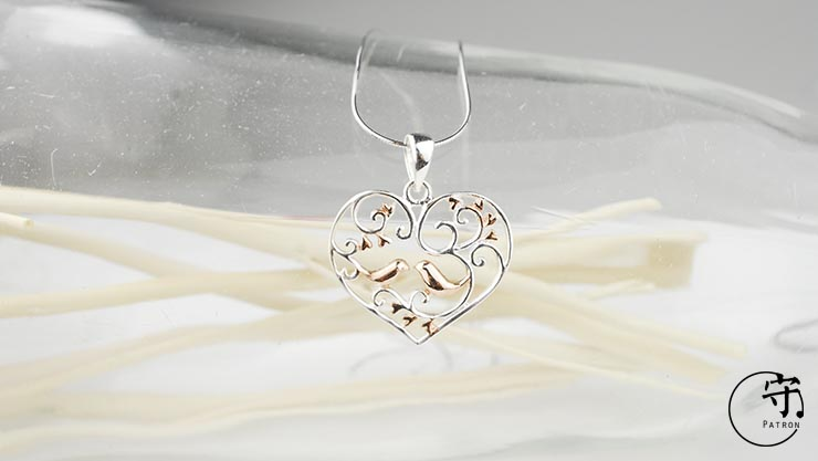 Handmade Hollow Out Sterling Silver Flower vine Birds Heart Shape Pendants No Chain