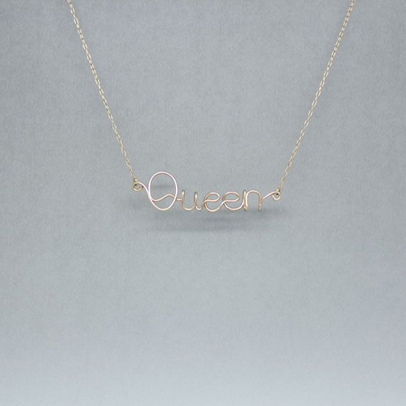 Handmade Letter QUEEN 14k Gold Filled Necklace
