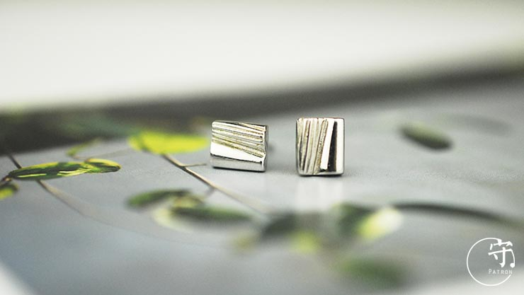 Natural Irregular Stripes Lines Earrings Women Unique Sliver Earring