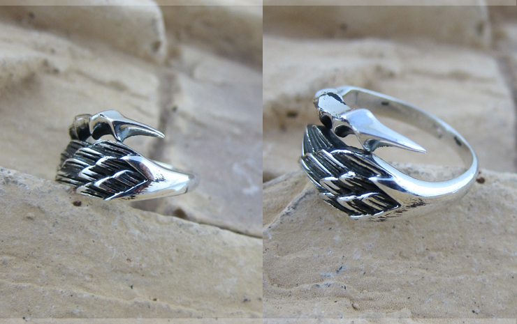 Men 925 Sterling Silver Angel Wings And Devil Claw Pinkie