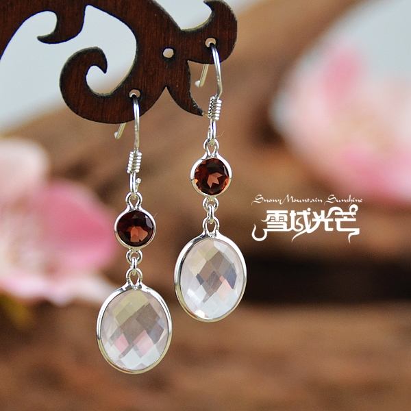 925 Sterling Silver Garnet And Natural Pink Crystal Earrings