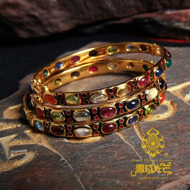 925 Sterling Silver Gilding Coloured Enamels Gemstone Bracelet