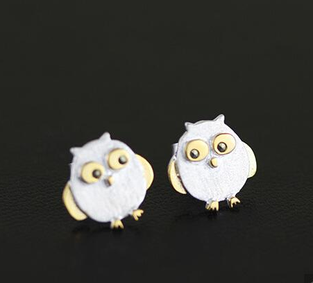 925 Sterling Silver Owl Earrings