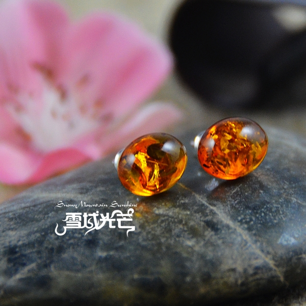 Handmade 925 Sterling Silver Natural Amber Earrings