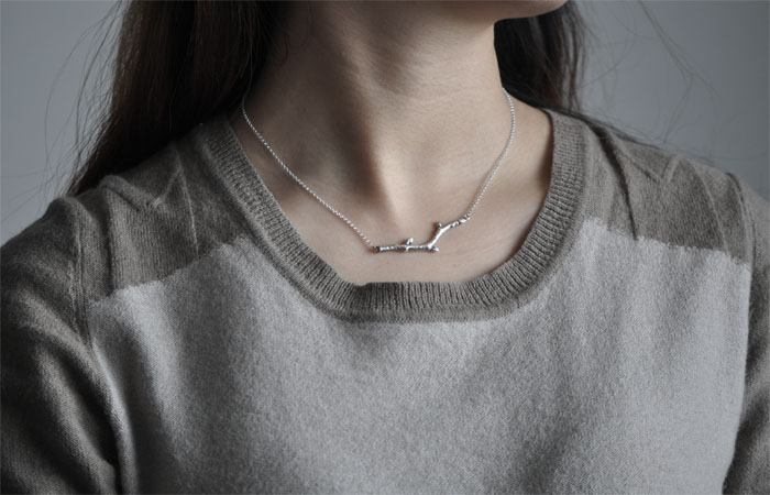 Handmade Sterling Silver Necklace Tree Buds