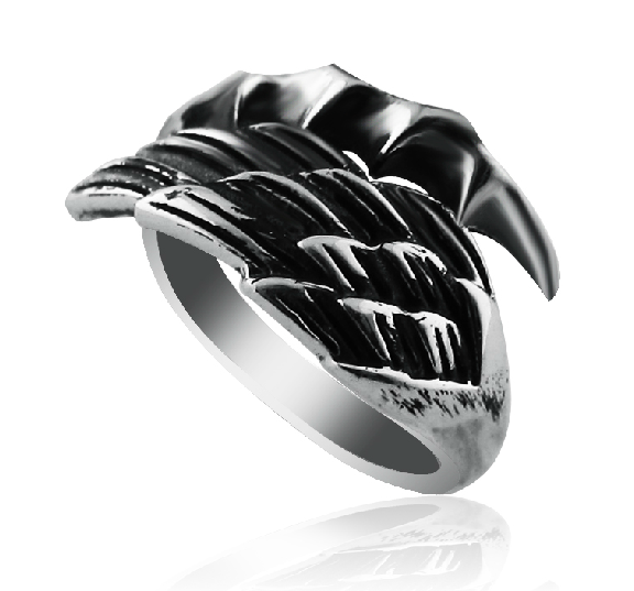 Men 925 Sterling Silver Angel Wings And Devil Claw Pinkie Ring