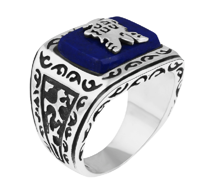 Men Lapis Lazuli And 925 Silver Ring