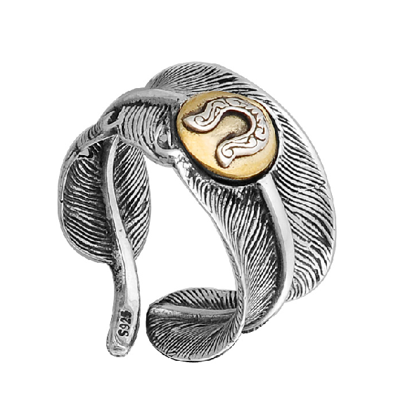 Men Silver Horseshoe And Feather Ring